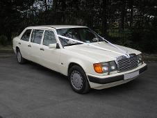 Mercedes E Class Limousine wedding car in cream