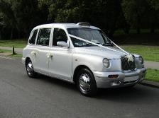 London Taxi Cab Wedding Car in Silver