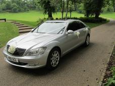Silver mercedes s class lwb wedding car